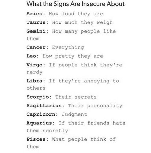 Horoscopes Quotes What The 12 Zodiac Signs Are Insecure About