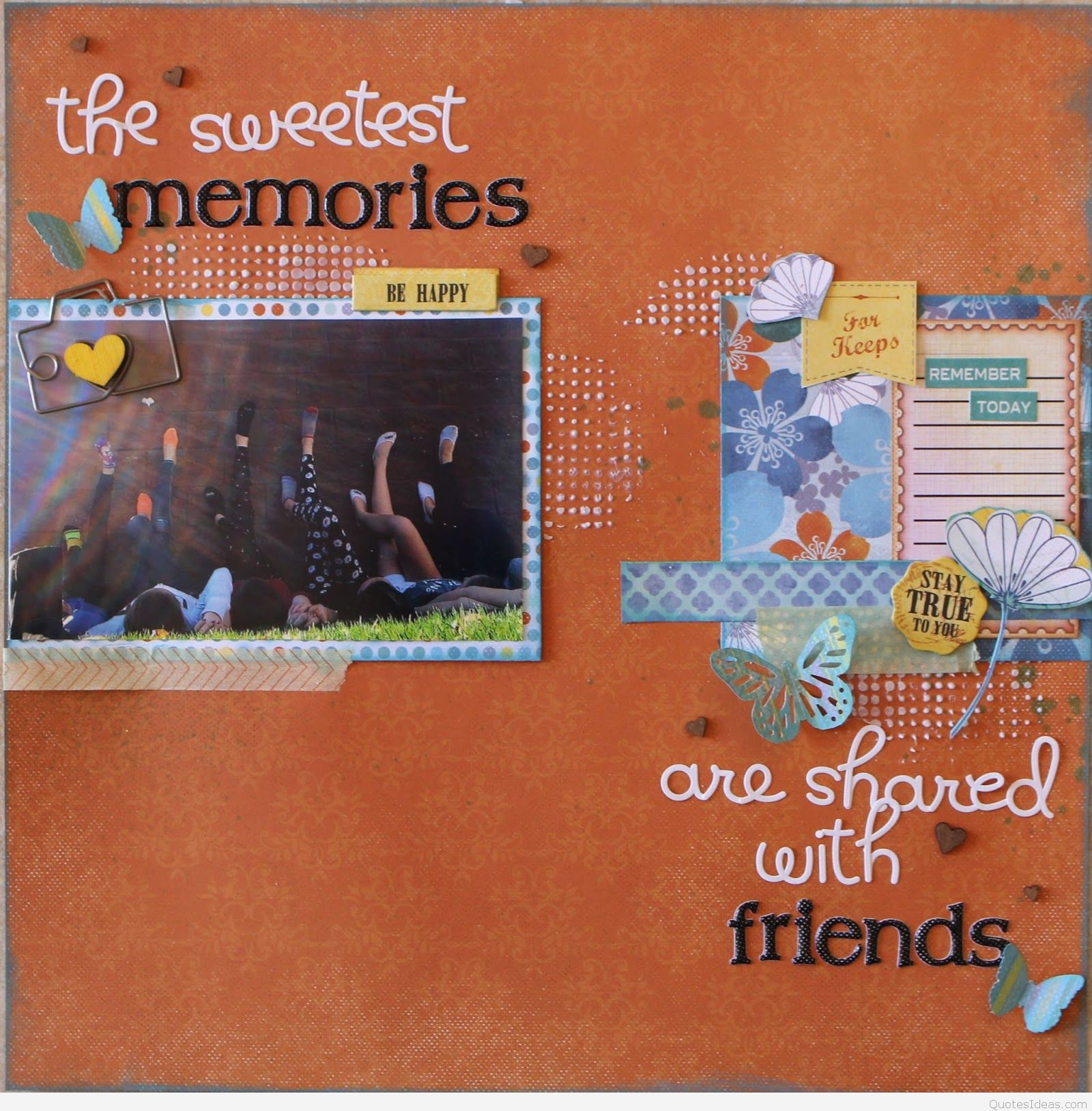 Sweet memories card wallpaper quote with friends
