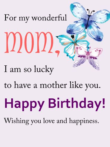 Birthday Quotes For My Wonderful Mom Birthday Card Butterflies