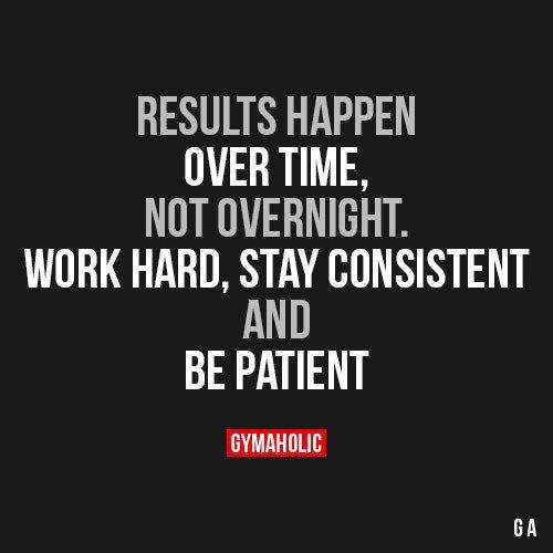 Fitness Quotes : Results Happen Over Time, Not Overnight