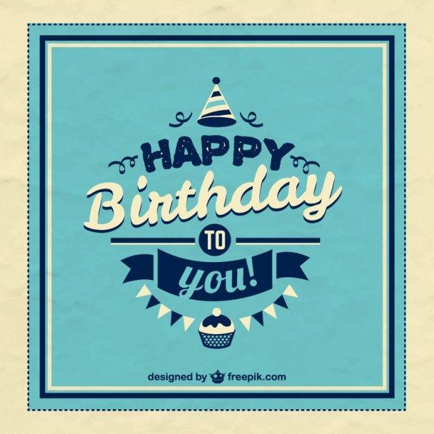 Birthday Quotes : Retro Happy Birthday Card Free Vector