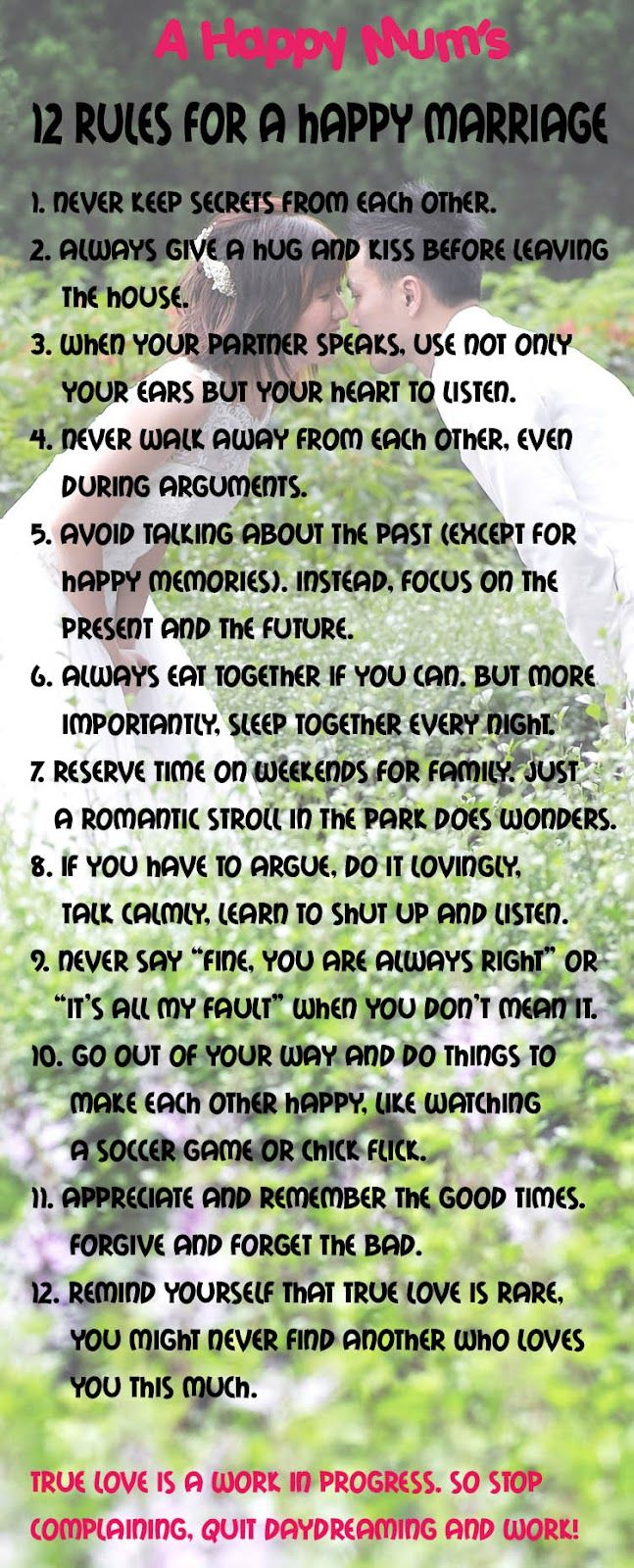 Life Quotes Inspiration 12 Rules For A Happy Marriage Omg Quotes Your Daily Dose Of Motivation Positivity Quotes Sayings Short Stories