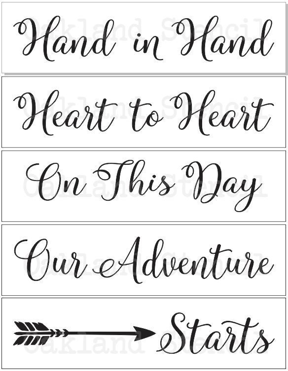 Quote About Wedding Wedding Stencils Hand In Hand With Arrow Set Of 5 Stencils For Signs Pallets C Omg Quotes Your Daily Dose Of Motivation Positivity Quotes Sayings Short Stories