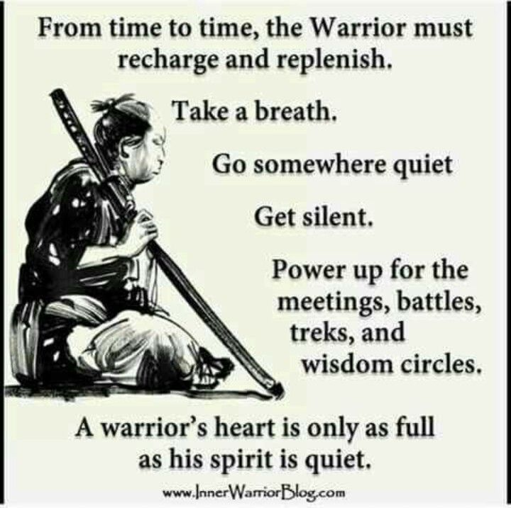 Wisdom Quotes : Sometimes The Warrior Must Rest.